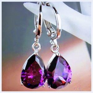 ✅🌹Sterling Silver Hooks Amethyst Earrings.